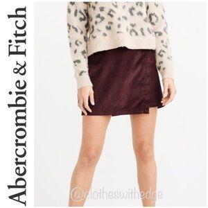 ⬇️ NWT A&F Burgundy Corduroy Wrap-Front Skirt